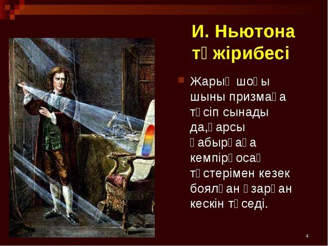 * И. Ньютона тәжірибесі Жарық шоғы шыны призмаға түсіп сынады да,қарсы қабырғ...