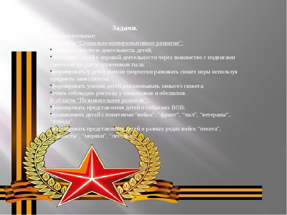 """Задачи. Образовательные: В области """"Социально-коммуникативное развитие"""": раз..."""