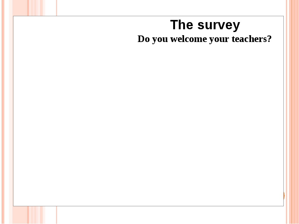 The survey Do you welcome your teachers?