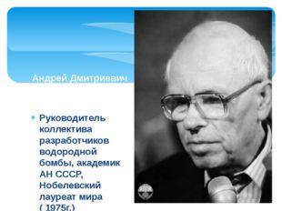 Руководитель коллектива разработчиков водородной бомбы, академик АН СССР, Ноб
