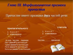 Глава III. Морфологические признаки причастия Причастие имеет признаки двух ч