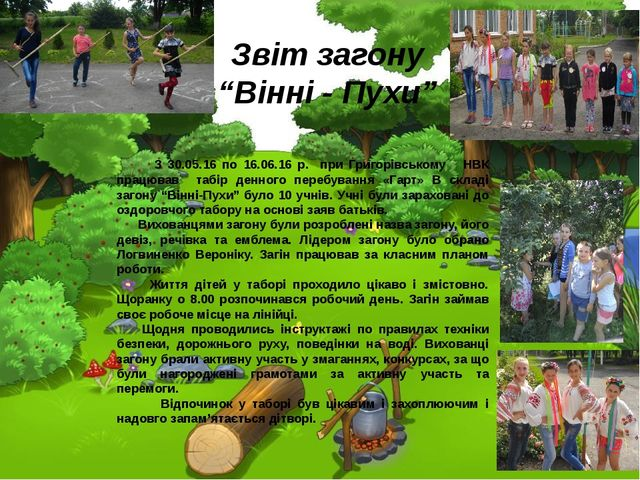 З 30.05.16 по 16.06.16 р. при Григорівському НВК працював табір денного пере...
