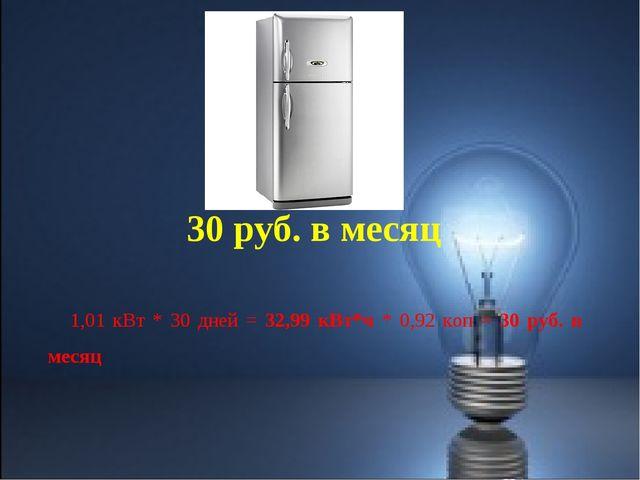 1,01 кВт * 30 дней = 32,99 кВт*ч * 0,92 коп = 30 руб. в месяц 30 руб. в месяц