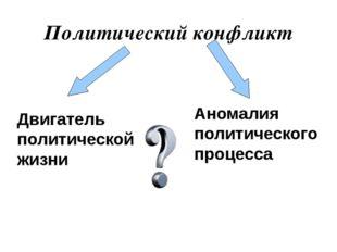 Политический конфликт Аномалия политического процесса Двигатель политической