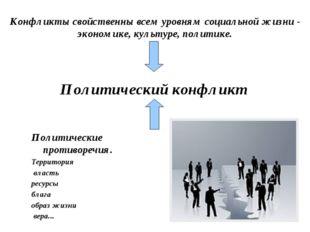 Конфликты свойственны всем уровням социальной жизни - экономике, культуре, по