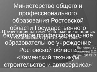 Министерство общего и профессионального образования Ростовской области Госуда
