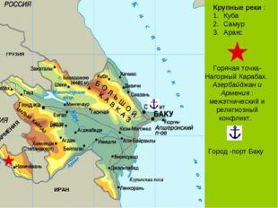 Крупные реки : Куба Самур Аракс Горячая точка- Нагорный Карабах. Азербайджан