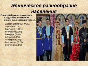 Этническое разнообразие населения В Азербайджане проживают представители мног