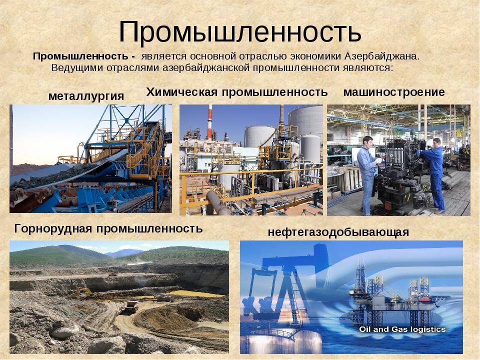 Промышленность Промышленность -является основной отраслью экономики Азербай...