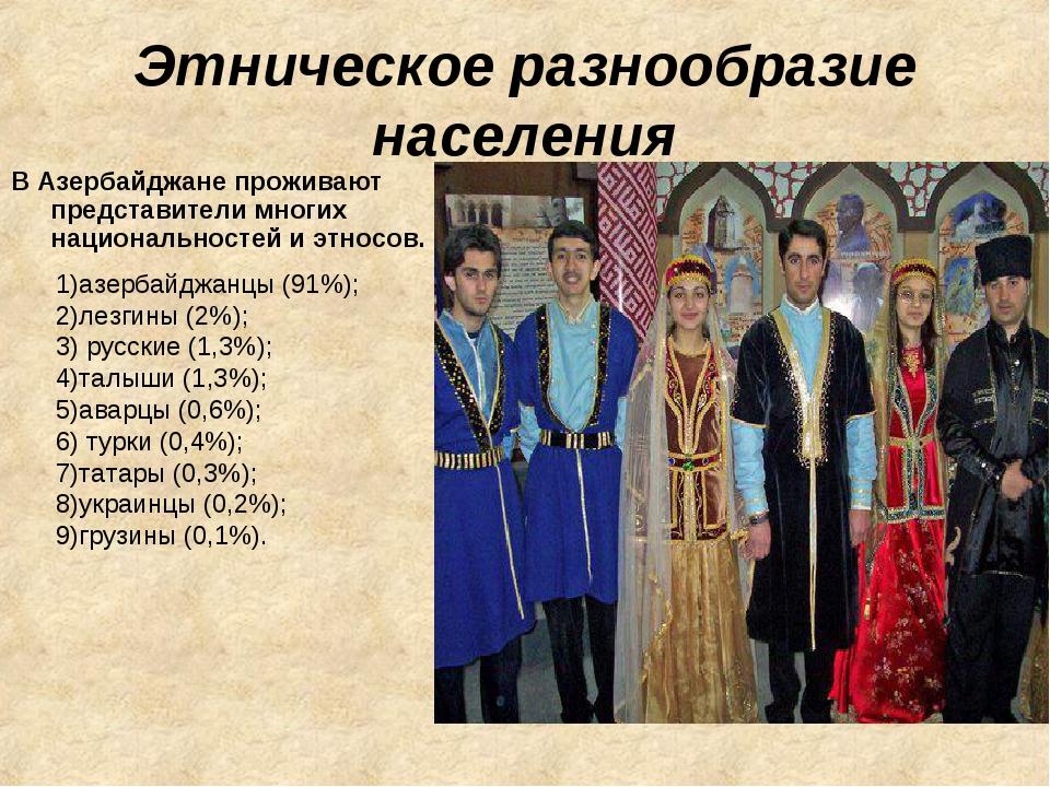 Этническое разнообразие населения В Азербайджане проживают представители мног...