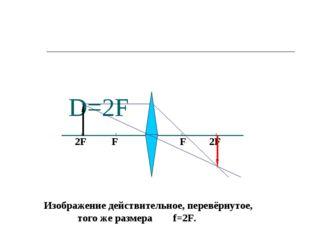 D=2F F F 2F 2F Изображение действительное, перевёрнутое, того же размера f=2F.