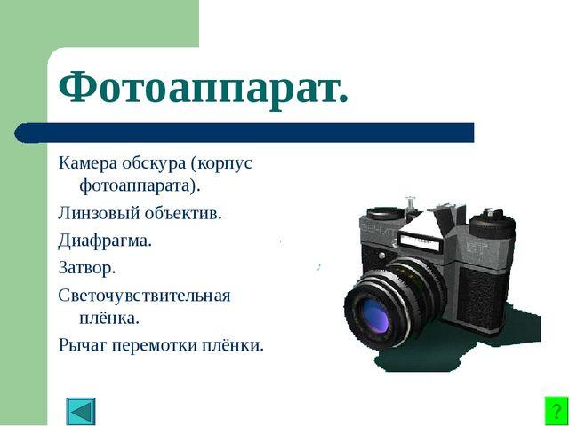 Фотоаппарат. Камера обскура (корпус фотоаппарата). Линзовый объектив. Диафраг...