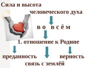 Сила и высота человеческого духа в о в с ё м 1. отношение к Родине преданност