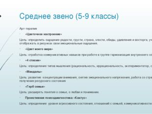 Среднее звено (5-9 классы) Арт-терапия «Цветочное настроение» Цель: определит