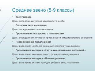 Среднее звено (5-9 классы) Тест Райдаса Цель: определение уровня уверенности