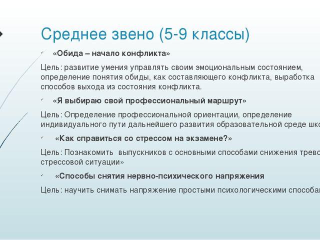 Среднее звено (5-9 классы) «Обида – начало конфликта» Цель: развитие умения у...