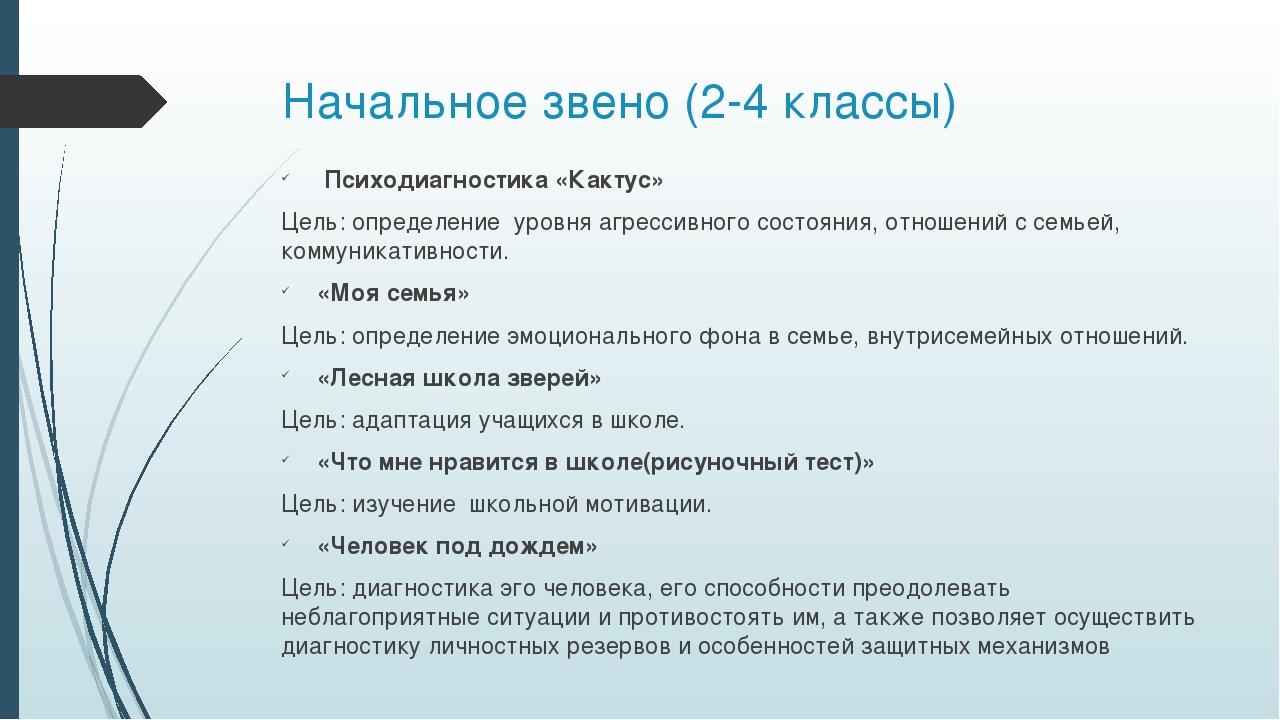 Начальное звено (2-4 классы) Психодиагностика «Кактус» Цель: определение уров...