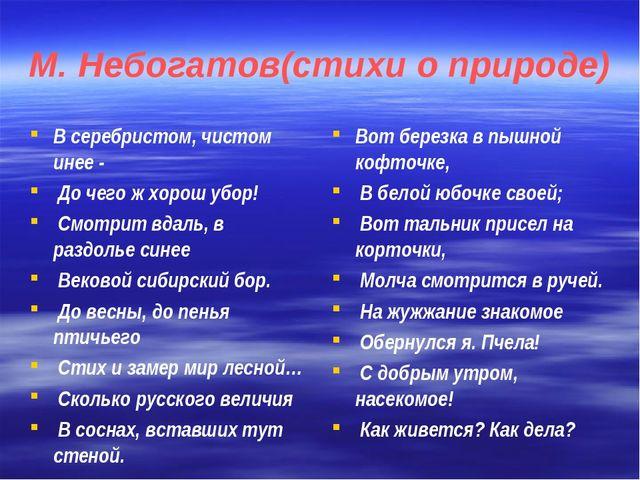 М. Небогатов(стихи о природе) В серебристом, чистом инее - До чего ж хорош уб...