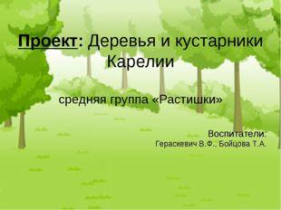 Воспитатели: Гераскевич В.Ф., Бойцова Т.А. Проект: Деревья и кустарники Карел