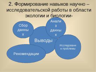 2. Формирование навыков научно – исследовательской работы в области экологии