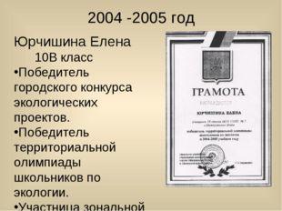 2004 -2005 год Юрчишина Елена 10В класс Победитель городского конкурса эколог