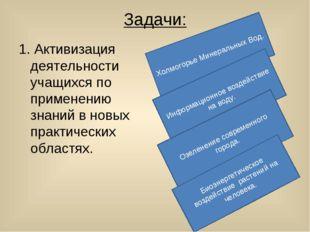 Задачи: 1. Активизация деятельности учащихся по применению знаний в новых пра