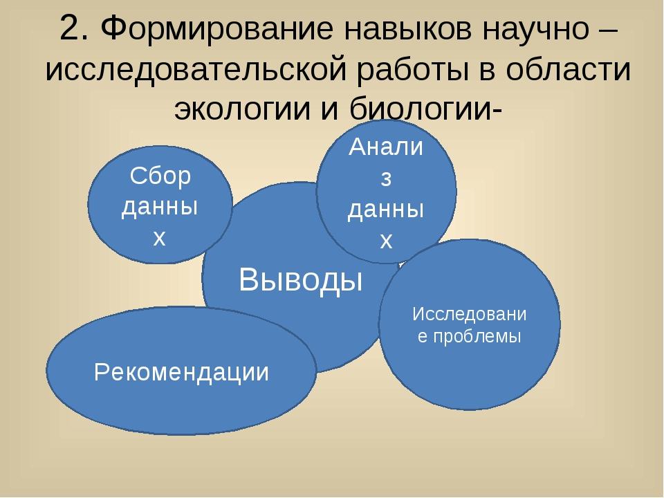 2. Формирование навыков научно – исследовательской работы в области экологии...