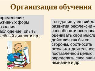 Организация обучения - применение активных форм познания: наблюдение, опыты,