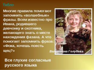 Все глухие согласные русского языка Табло Многие правила помогают запомнить «