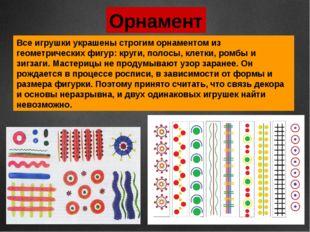 Орнамент Все игрушки украшены строгим орнаментом из геометрических фигур: кру