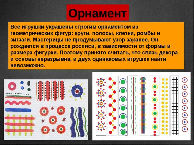 Орнамент Все игрушки украшены строгим орнаментом из геометрических фигур: кру...