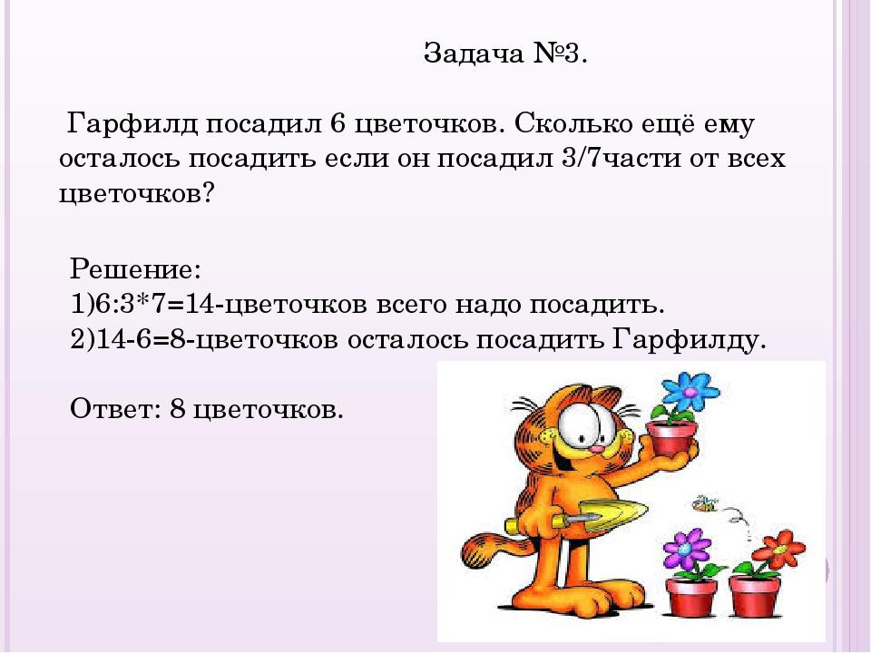 Задача №3. Гарфилд посадил 6 цветочков. Сколько ещё ему осталось посадить ес...
