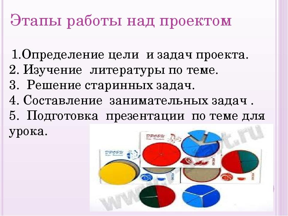 Этапы работы над проектом  1.Определение цели и задач проекта. 2. Изучение л...