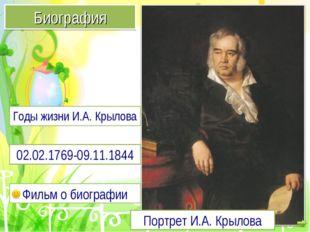 Портрет И.А. Крылова Биография 02.02.1769-09.11.1844 Фильм о биографии Годы ж