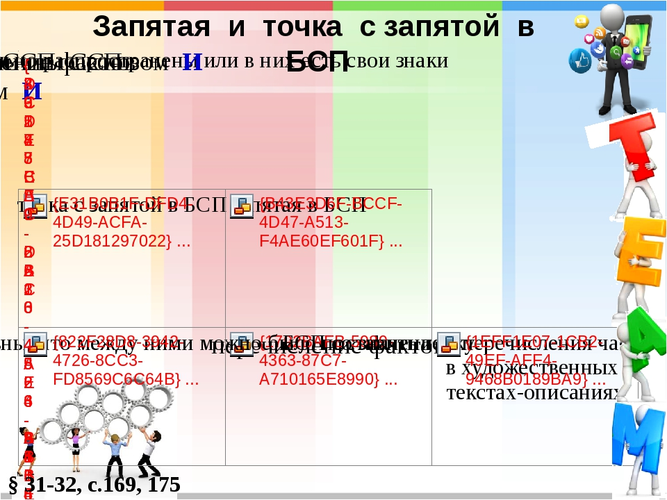 Запятая и точка с запятой в БСП § 31-32, с.169, 175