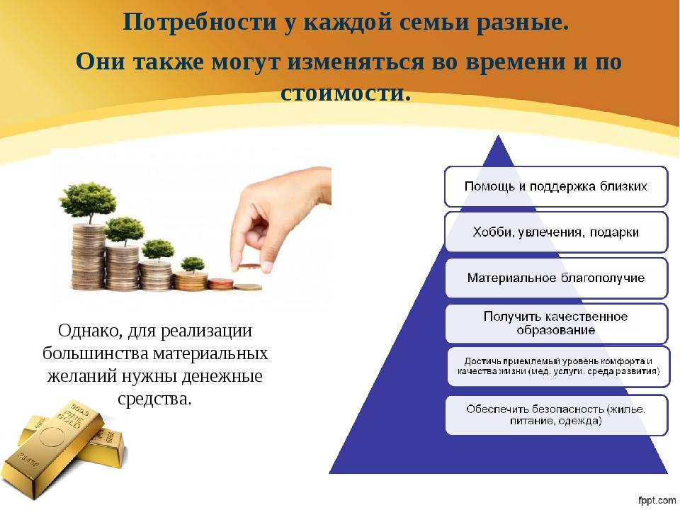 Однако, для реализации большинства материальных желаний нужны денежные средст...