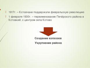 1917г. – Кстовчане поддержали февральскую революцию 1 февраля 1930г. – переим