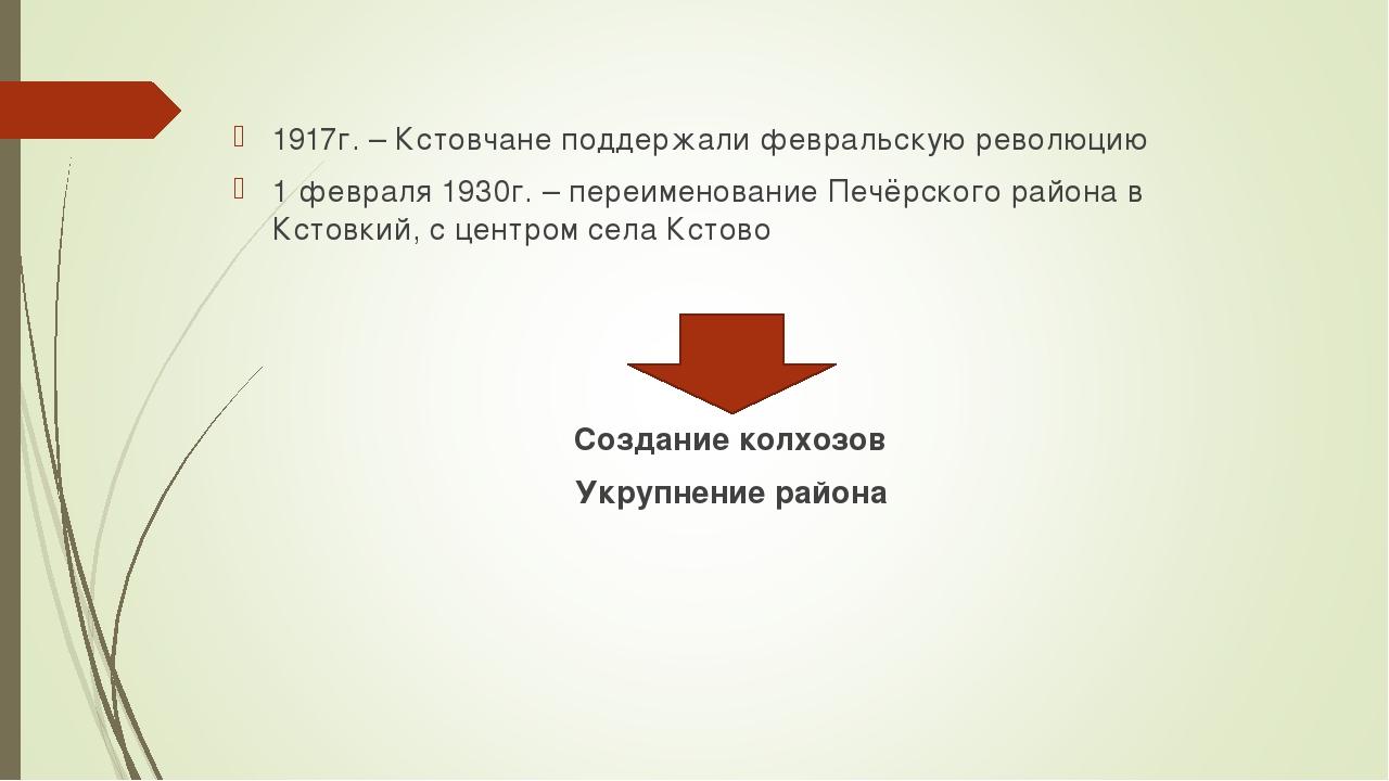 1917г. – Кстовчане поддержали февральскую революцию 1 февраля 1930г. – переим...