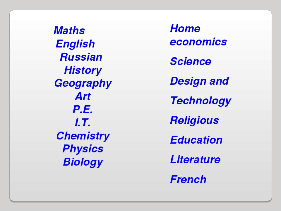 Maths English Russian History Geography Art P.E. I.T. Chemistry Physics Biolo...
