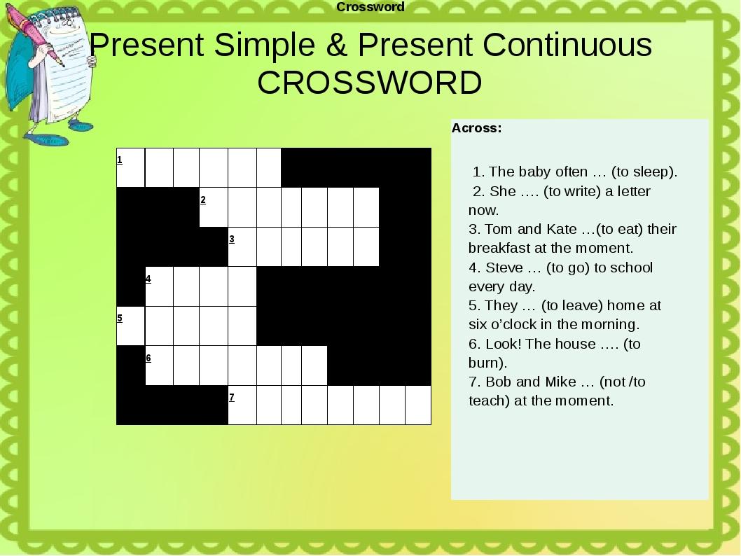 Present Simple & Present Continuous CROSSWORD Crossword 1        ...