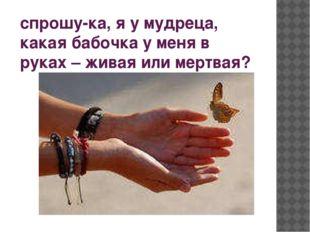 спрошу-ка, я у мудреца, какая бабочка у меня в руках – живая или мертвая?