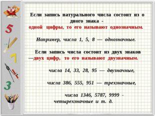 Еслизаписьнатуральногочисласостоитизодного знака-однойцифр