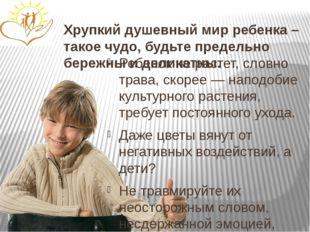 Хрупкий душевный мир ребенка – такое чудо, будьте предельно бережны и деликат