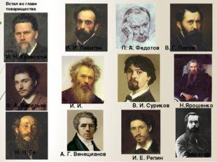 П. А. Федотов Н. Н. Ге И. Н. Крамской И. И. Левитан В. Г. Перов И. Е. Репин И