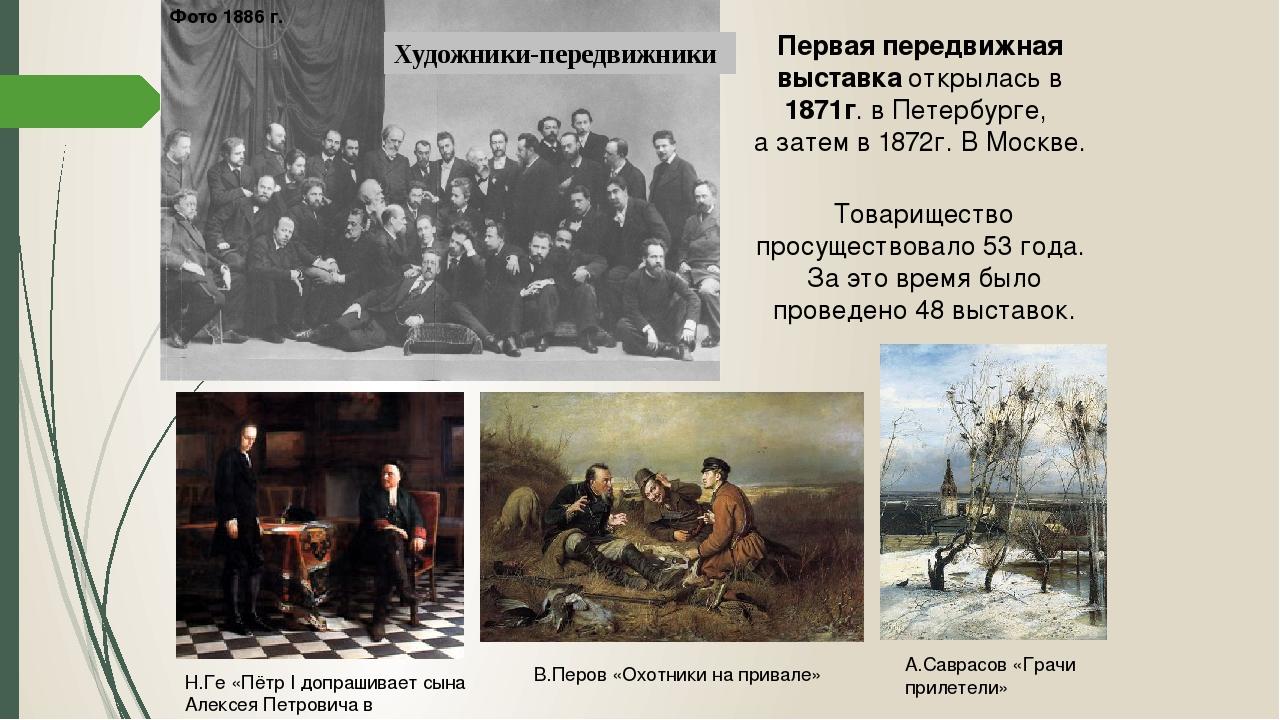 Художники-передвижники Фото 1886 г. Первая передвижная выставка открылась в 1...
