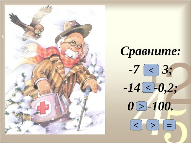 Сравните: -7 и 3; -14 и -0,2; 0 и -100. < > = < < >