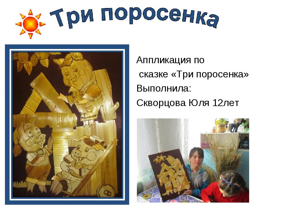 Аппликация по сказке «Три поросенка» Выполнила: Скворцова Юля 12лет