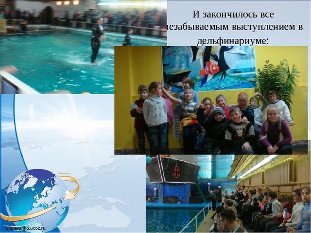 И закончилось все незабываемым выступлением в дельфинариуме: