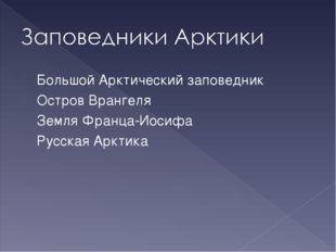 Большой Арктический заповедник Остров Врангеля Земля Франца-Иосифа Русская Ар