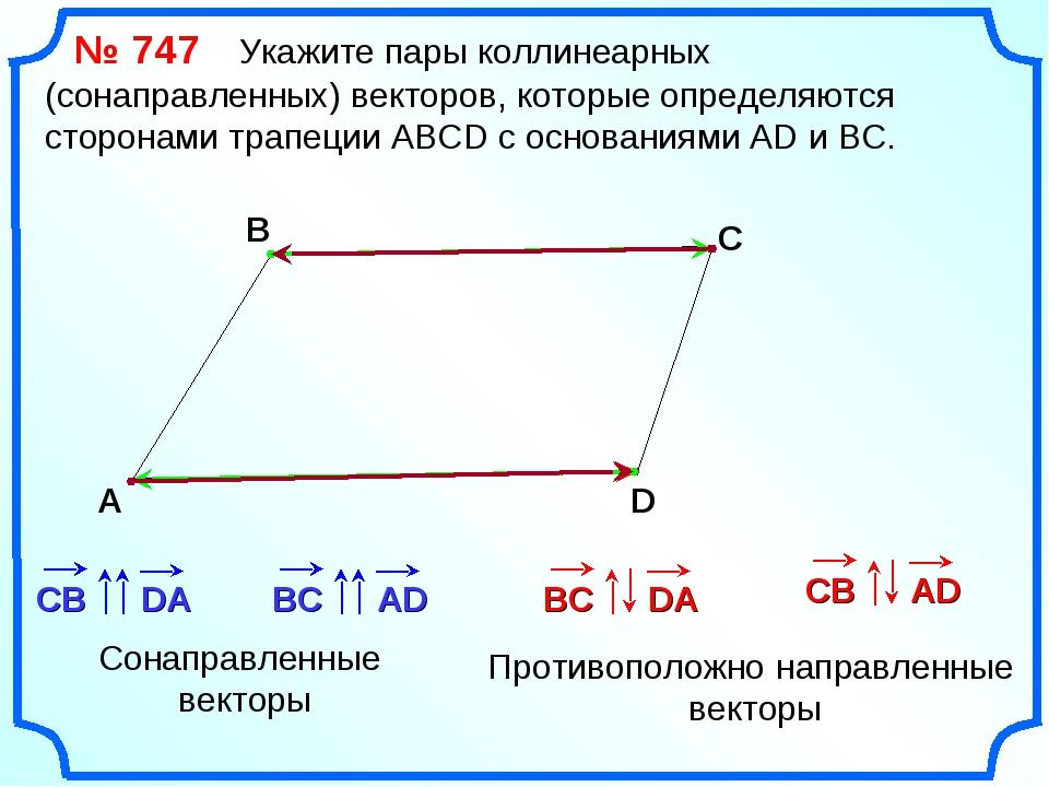 № 747 Укажите пары коллинеарных (сонаправленных) векторов, которые определяю...